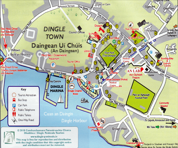 Dingle Map Of Ireland.Dingle Town Map